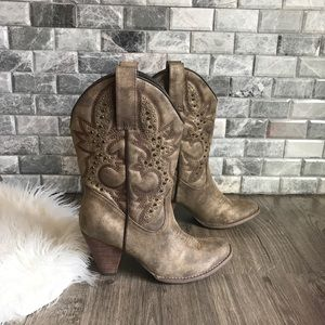 Very Volatile taupe stud jeweled cowboy boots